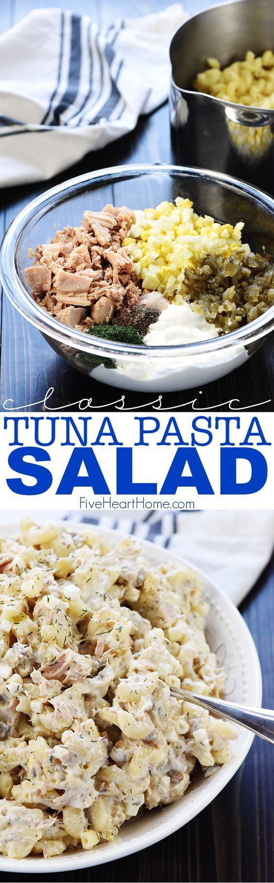 Classic Tuna Pasta Salad ~ with healthier whole wheat macaroni, hard-boiled eggs, two kind of pickles, and fresh dill in a lightened-up dressing of mayonnaise and Greek yogurt, this simple recipe is great for lunch or dinner! | FiveHeartHome.com #tuna #tunasalad #pasta #pastasalad #greekyogurt #eggs #pickles #recipe #fivehearthome
