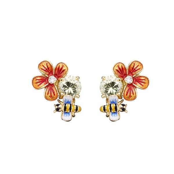 Flora øreringe med blomster og bier - Kranz & Ziegler