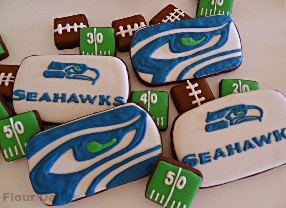 Next time Seahawks go to the Super Bowl...  1 Dozen NFL Seahawks Cookies by FlourDeLisShop on Etsy, $42.00