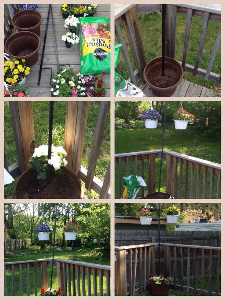 1. I made my On my own lamppost planter. I pick up shepherd hook with solar light for $25 and the container pot for $7 ( I couldn't find any solar lamppost container under $149 and price only went up from there). The second turn out better than first one only because I saw what I did wrong. It was top heavy so I had to lean post up against my deck. If someone can help me to figure out how to keep it straight please let me know.  2. Put potting soil in the pot. 3. Lamppost in pot. 4. Flower…