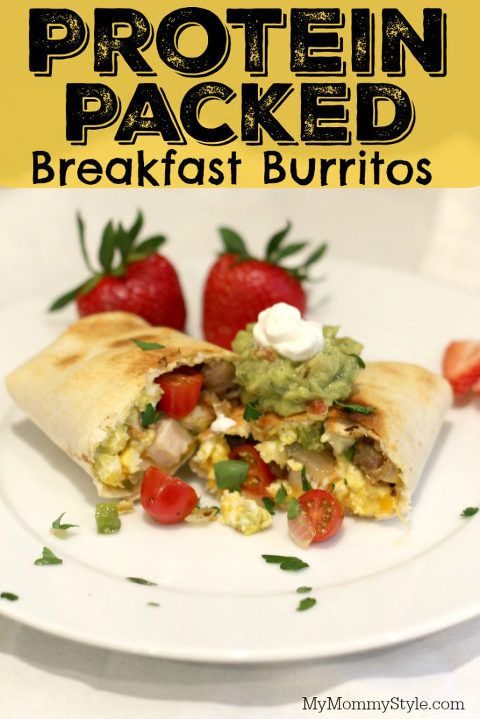 Protein Packed Breakfast Burritos! So yummy! You can prepare these ahead of time for an easy breakfast on the go or serve them at your next brunch! So good and full of all of the good stuff.