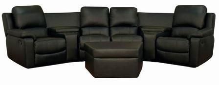 8802-Black-7PC Home Theatre Sets Home Theater Reclining Sofa 7 Piece Set in Black