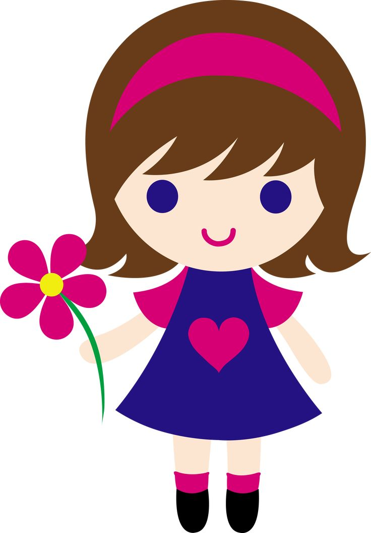 My clip art of a little girl holding a pink daisy.
