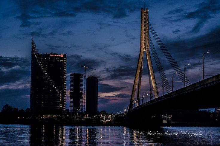 Cable-stayed bridge. Riga