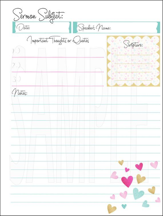 HAPPY PLANNER PRINTABLE Bible Study Planner Pages / Sermon Planner