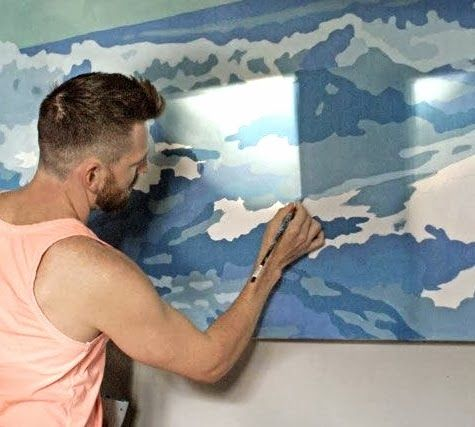DIY Large Scale Stretched Canvas  Make Your Own Giant Seascape Wall Art.  Projector ...