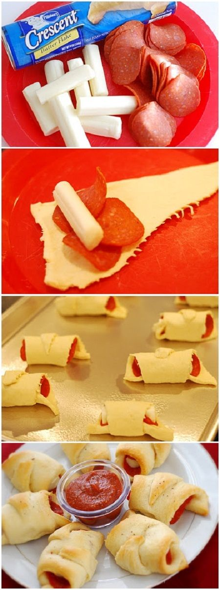 Easy PEPPERONI ROLL UPS I changed it up some and sprinkled the tops with garlic powder and real parmesan cheese. Line your pan with parchment paper!!! the cheese is going to come out!