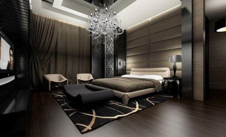 idée chambre adulte moderne avec suspension grand lit tapis et fauteuils