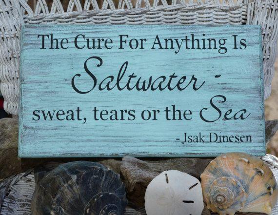 Beach Decor - Beach Sign - The Cure For Anything Is Saltwater - Beach Theme - Ocean Sign - Rustic - Coastal Decor - Beach House via Etsy