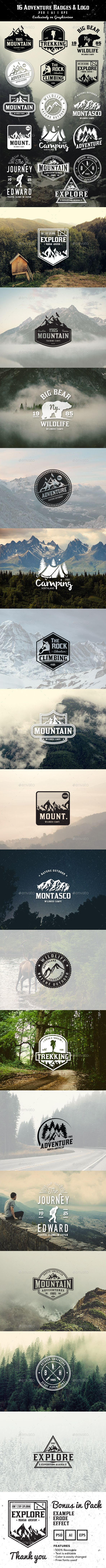 16 Adventure Badges & Logo Template #design Download: http://graphicriver.net/item/16-adventure-badges-logo/11973456?ref=ksioks