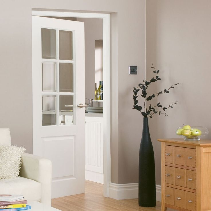 JBK Faro White Primed Door with Clear Safety Glass - Lifestyle Image