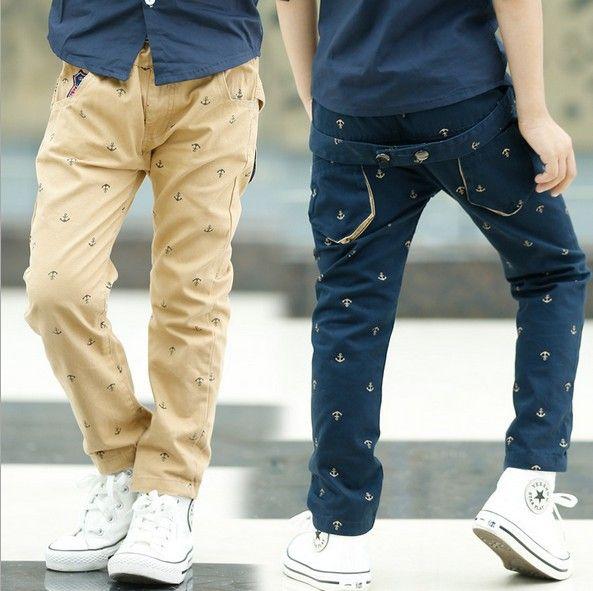 Мальчики брюки дети брюки весна осень якорь печать дети свободного покроя брюки все для дети одежда и аксессуары