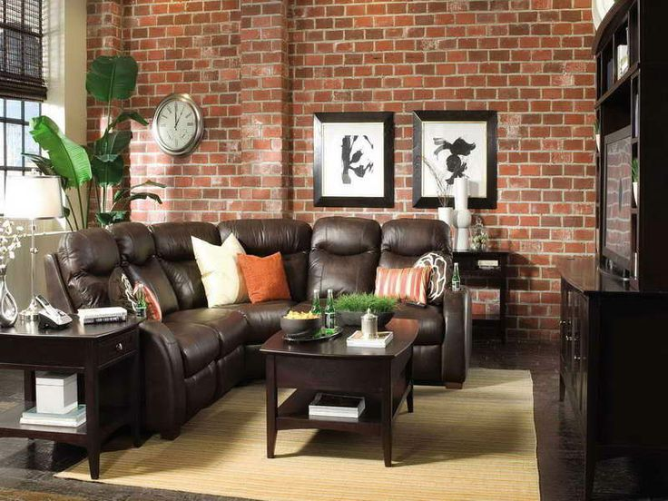 Wallpaper For Small Living Room Part - 37: Retro Home Interior Decorating Small Living Room Design Ideas With Rustic  Brick Wall Decor And Modern Brown Leather Sofa Furniture Se