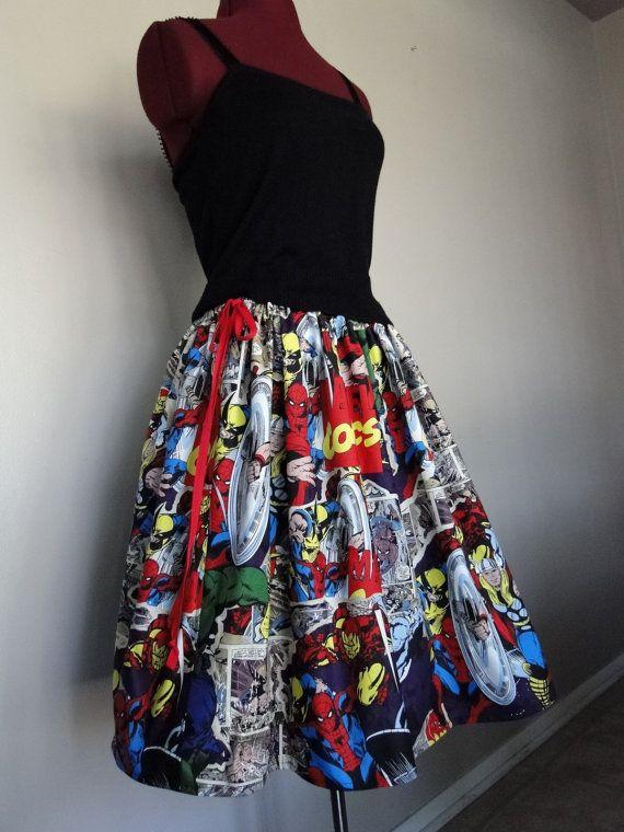 Comic Book Skirts, Avengers skirts, Marvel Comics Skirts, Superhero skirts, novelty skirts, tintiara skirts, womens skirts on Etsy, $52.00