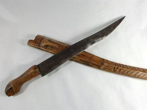 VTG Philippines BOLO KNIFE Jeep Leaf Spring Blade HANDCARVED Scabbard Sheath 13""