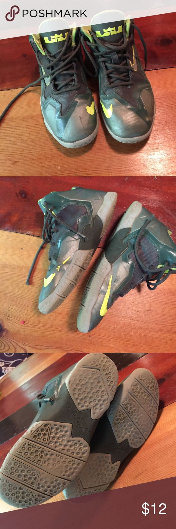 Roughed Up Lebrons Size 3 Boys Lebrons Janes Hi-Tops.  Grey and green with yellow details (think Univ. of Oregon palette).  Worn and priced to go! Nike Shoes Sneakers
