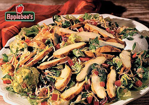 Applebee's Copycat Recipes: SANTA FE CHICKEN SALAD...  A Tex-Mex salad with homemade pico de gallo, cheese, and crunchy tortilla strips with grilled marinated chicken breast with sour cream, guacamole and Mexican ranch dressing.