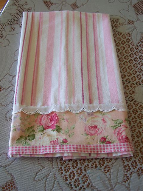 Pink and white tea towel by Decorative Towels - Created by Cath., via Flickr