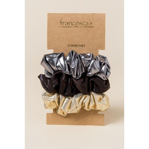 Bonnie 3 Pack Metallic Scrunchie Hair Ties - Gold ($4.98) ❤ liked on Polyvore featuring accessories, hair accessories, gold, scrunchie hair tie, gold hair tie, gold hair accessories, scrunchie hair accessories and ponytail hair ties