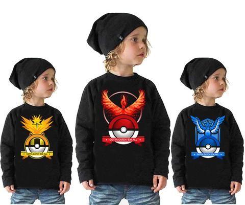 Pokemon Go Kids Fashion Long Sleeve Cotton Shirt