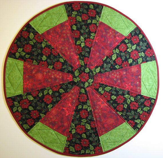 CLEARANCE Quilted Christmas Table Topper, Round Christmas Table Topper,  Poinsettia Table Topper, Red Green Black, Quiltsy Handmade