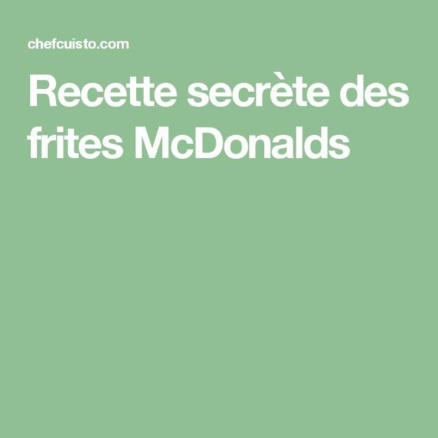 Recette secrète des frites McDonalds