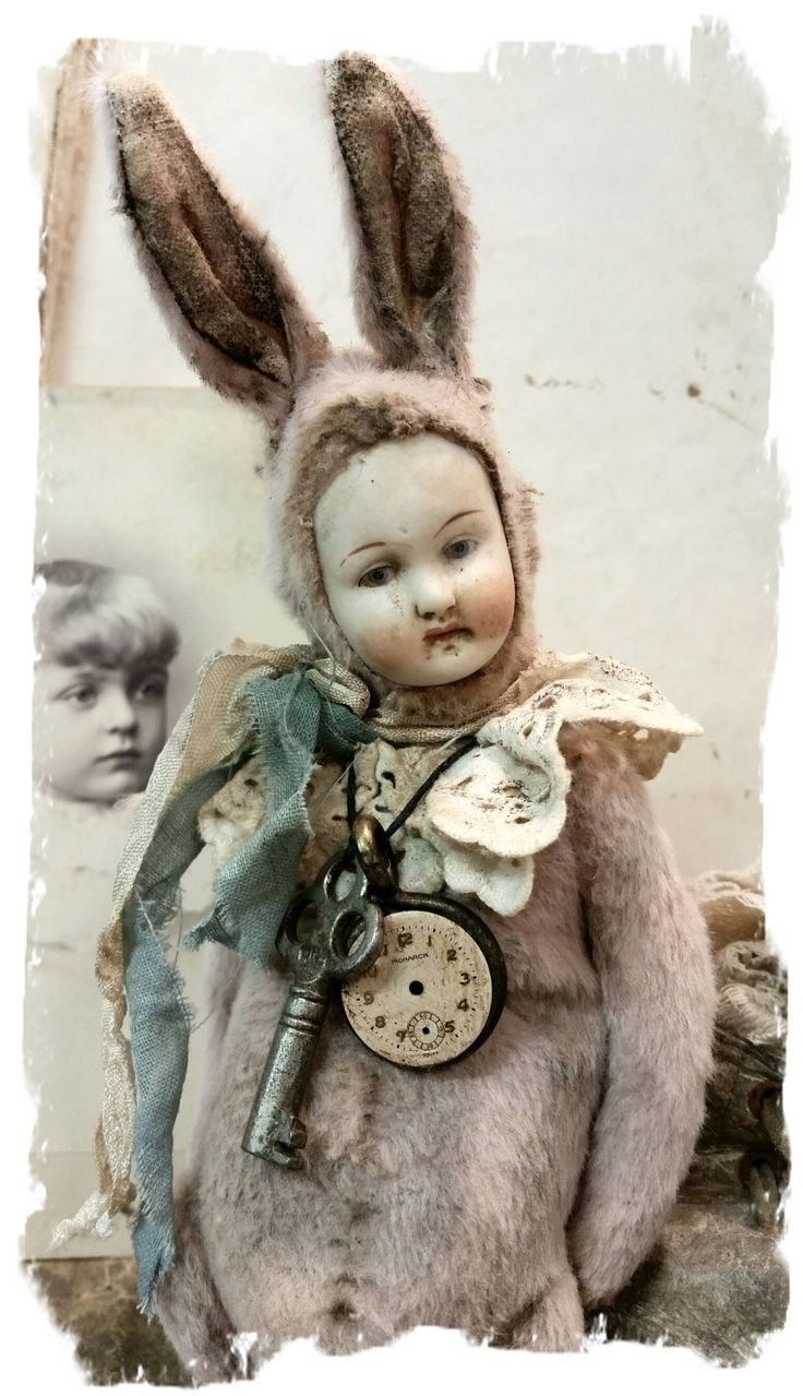 "One Of A KindDreamy Old Pink POPPET rabbit with antique german bisque dolly head -  handmade by Wendy Meagher of Whendi's Bears -  *** Aprrox. 8"" tall to tip of ears - Antique Style Old Pink color Rabbit with an antique bisque Hertwig doll head (jointed neck, arms"