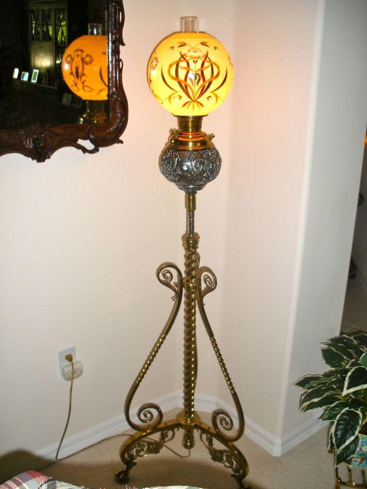 Antique Vintage Floor Model Piano Lamp With Signed Handel
