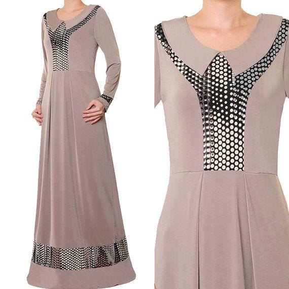 2628 Jersey Spandex Pan Collar Ladies Islamic Abaya by MissMode21