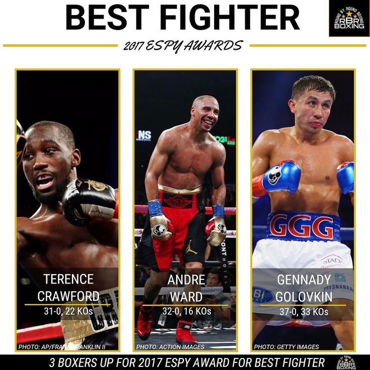 There are three boxers, Terence Crawford, Andre Ward and Gennady Golovkin, alongside MMA fighters Conor McGregor and Demetrious Johnson, who are nominated for the 2017 ESPY for Best Fighter. Based off their performances over the last 12 months, who would you pick to win the award and why? #Boxing #Boxeo #RoundByRound #RoundByRoundBoxing #RBRBoxing #RBRBuzz #ESPY #ESPYS #ESPYS2017 #ESPN #Awards #BudCrawford #SOG #GGG #TagYourSquad #WhoWins #MMA #UFC #Boxen #BoxingHype #BoxingFanatik…
