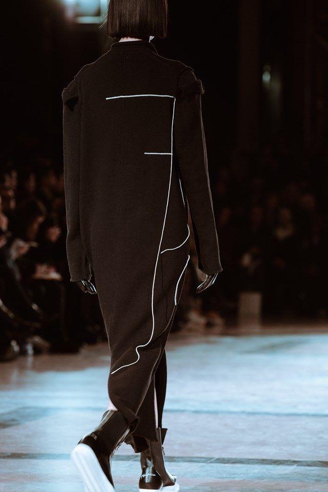 black white outline minimal urban long full length coat YOHJI YAMAMOTO A/W/16