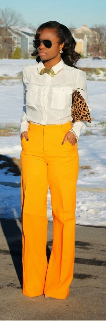 I can't remember the last time I custard yellow pants! And they're flared! Pair this with maroon.