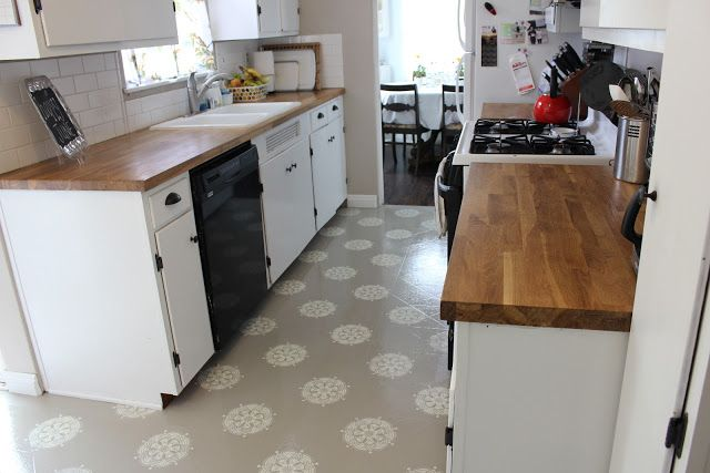 A Warm Conversation: Work with what you GOT-Painted Linoleum Kitchen Floors