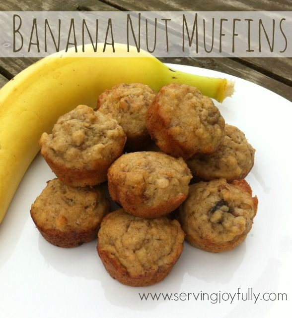 Banana Nut Muffins.. Delicious, moist, and real food approved!