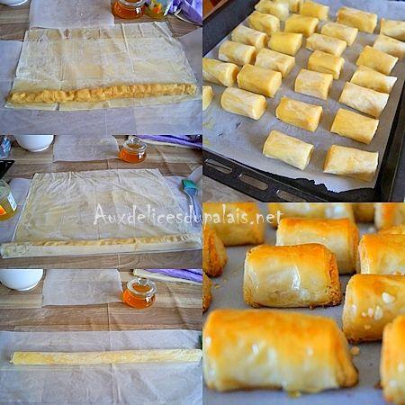Mhancha aux amandes, gâteau Aid facile Ingrédients : 6 grandes feuilles de filo 3 cuillères à soupe de smen ou de beurre fondu Pour la farce aux amandes : 450 g de poudre d'amande 150 g de sucre semoule 1 bonne pincée de mastic (gomme arabique) 2 cuillères à soupe d'eau de fleurs d'oranger 1 cuillère à soupe de smen ou de beurre 1 bonne pincée de cannelle 1 pincée de sel Pour la finition : 250 g de miel de fleurs d'oranger 2 cuillères à soupe d'eau de fleur d'oranger