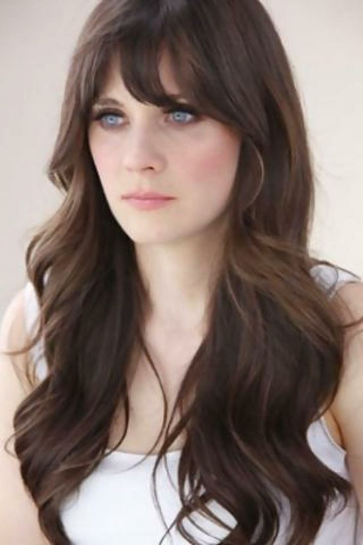 zooey deschanel, bangs and long hair