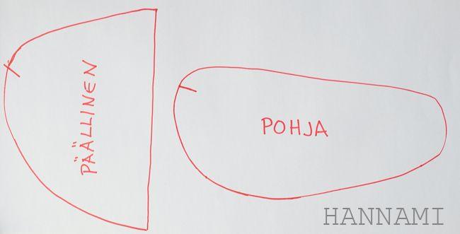 Kylpy-/vierastossujen ohje, osa 1: kaavat Tutorial for making a pattern for bath slippers