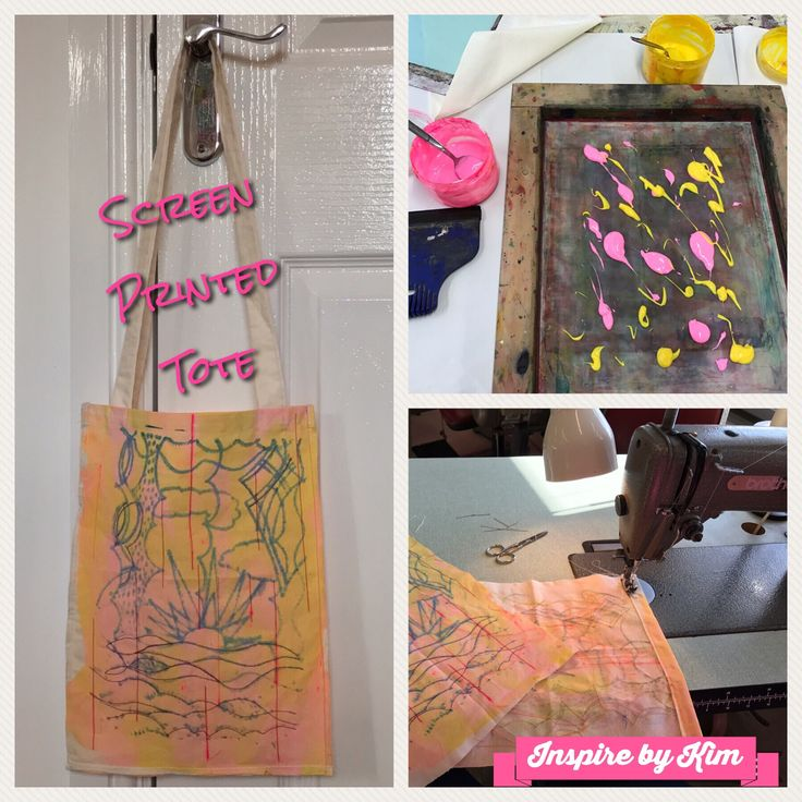 From screen printing to tote bag, with machine embroidery along the way. My latest make completed.  #screenprint #print #printmaking #tote #bag #inspirebykim #makeartthatsells #machineembroidery #bernina #pink #yellow #craftideas