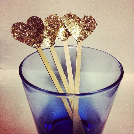 Gold Glitter Heart Drink Stirrers Cupcake Toppers by StadlerDesigns
