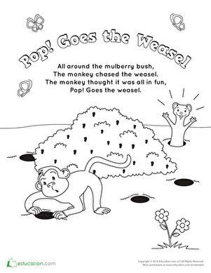 Kindergarten Music Animals Worksheets: Pop Goes the Weasel Song