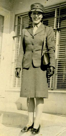 Sgt Lena Mae (Riggi) Basilone, 1913-1999, Camp Pendleton field cook during World War II, and wife of WWII hero and Medal of Honor winner Marine Gunnery Sgt. John Basilone (1916-1945) | Women Marines Association #genealogy #military #veterans