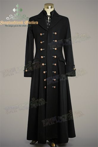 Victorian Elegant Gothic For Man, Thick Wool Buttons Ornamental Coat*Ankle length