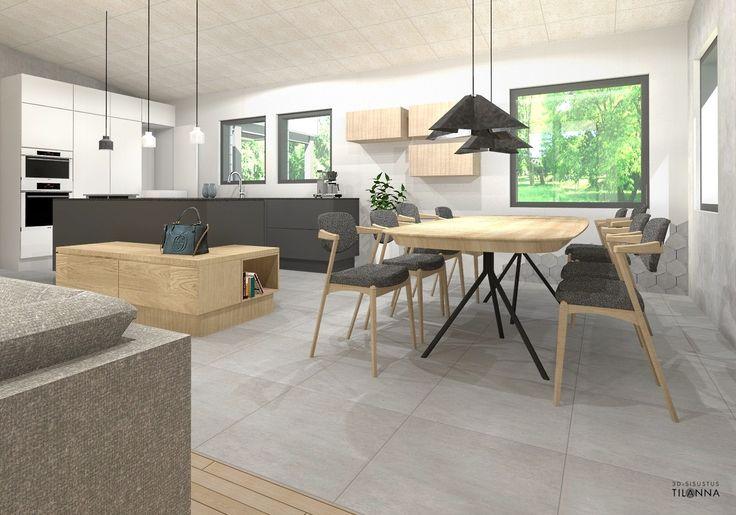 Teri-talot Moderna 220/ Uudiskohteen 3D-sisustussuunnittelu/ musta, valkoinen ja tamminen keittiö/ 3D-sisustus Tilanna