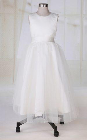 Natürliche Taile ärmelloses sittsames Kommunionkleid/ Blumenmädchenkleid mit Juwel Ausschnitt