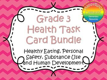 Looking for a great way to review or assess the grade 3 Ontario health strands? This bundle includes all 4 health strands including Human Development and Sexual Health, Healthy Eating, Personal Safety and Injury Prevention, and Substance Use, Addictions and Related Behaviours.