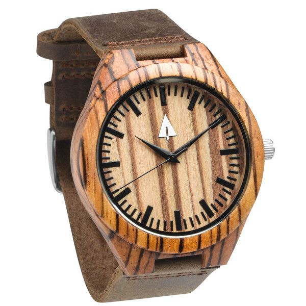 Tree Hut Zebra Wood Watch | This wooden Tree Hut watch has genuine brown leather bands and is handmade in San Francisco from real zebra wood with available engraving.