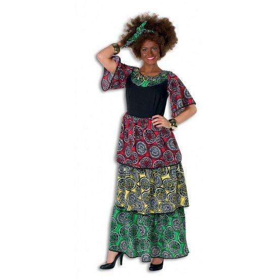 Jamaicaanse/Surinaamse jurk grote maat voor dames. Deze vrolijke jurk heeft een echt Jamaicaans uiterlijk door de rode, groene en gele kleuren. Het is een lange jurk met korte mouwen. Deze Carribische jurk is in diverse maten verkrijgbaar.