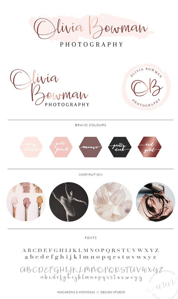 Pink Rose Gold Logo Set // Branding Kit for Wedding Photography / Small Business Event Planner Logo / Script Calligraphy Boutique Logo / 062