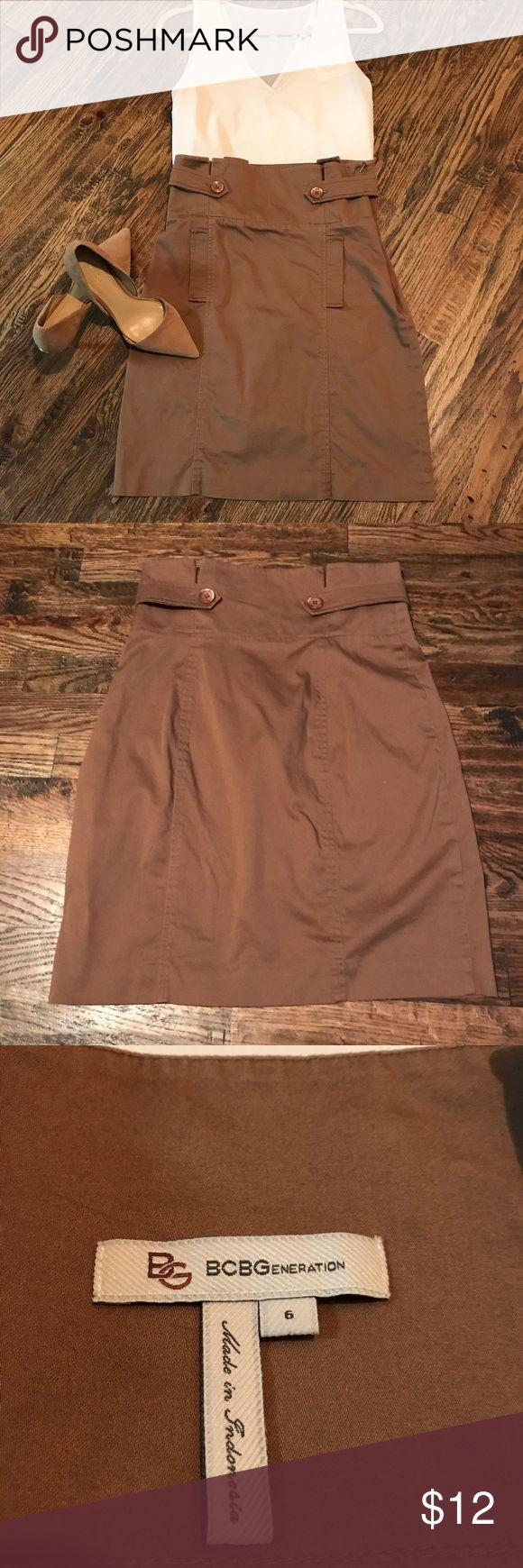 BCBGeneration Pencil Skirt BCBGeneration Brown Pencil Skirt. Size 6. Great Condition   97% Cotton 3% Spandex BCBGeneration Skirts Pencil