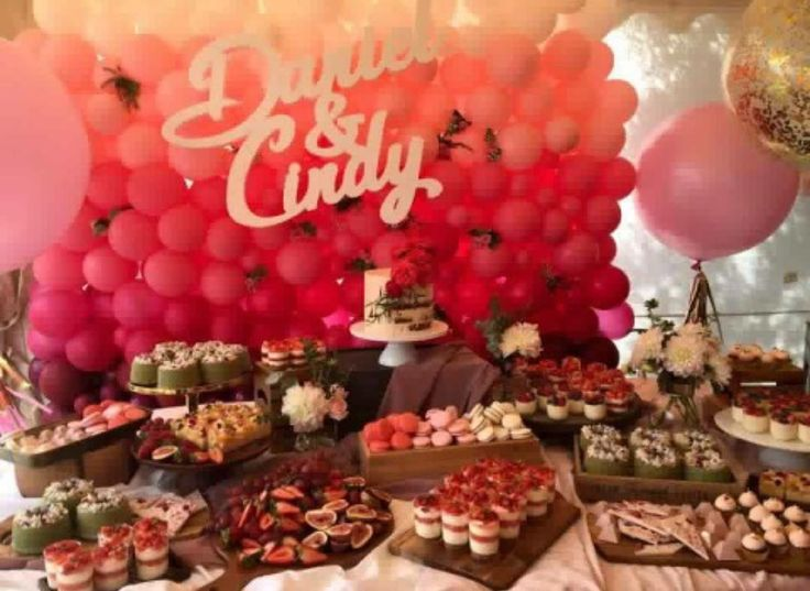 Gradient #pink #balloonwall setting the scene for this Rosy #engagement. Wishing the cute couple a sweet #rosy #future #togetherforever  #bridetobe #sydneyballoons #desserttable #balloonlove #backdrop #jumboballoons #pinklicious